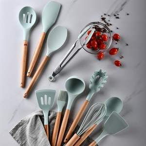 Image 3 - Silicone Cooking Kitchen Utensils Set Non Stick Spatula Shovel Wooden Handle Cooking Tools Set With Storage Box Kitchen Tool Set