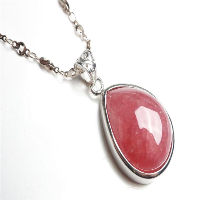 100 genuine natural red rhodochrosite gem stone silver around 100 genuine natural red rhodochrosite gem stone silver around jewelry water drop bead necklace charm aloadofball Gallery