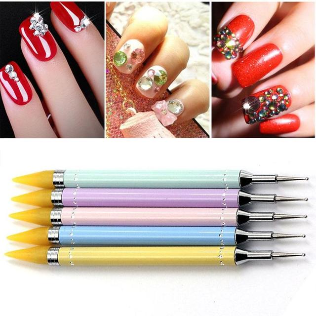 1pc Rhinestone Nail Dotting Pen Dual Ended Beads Handle Art Tools Crystal Dot Pro