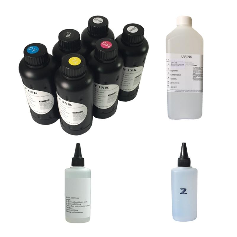 6pcs*500ml UV ink (C/M/Y/K/W/W ), 1*Cleaning liquid(500ml), 1*UV Additives(100ml),1* UV Viscosity liquid(100ml) for UV Printer 500ml bottle uv cleaning liquid for epson r290 r330 l800 1390 1400 solution liquid for epson mimaki roland flatbed uv printer