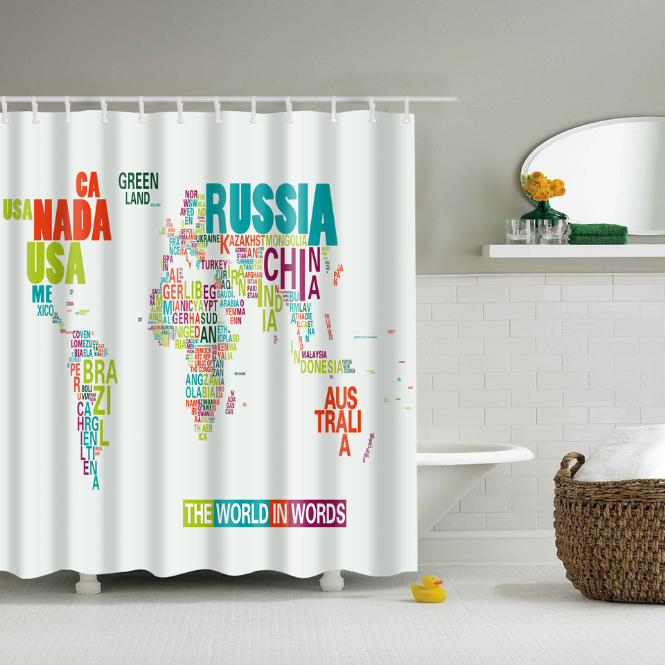 Papa&Mima word map Printed Waterproof Shower Curtains Polyester Bathroom Curtains With Hooks 180x180cm Decorative Bathtub