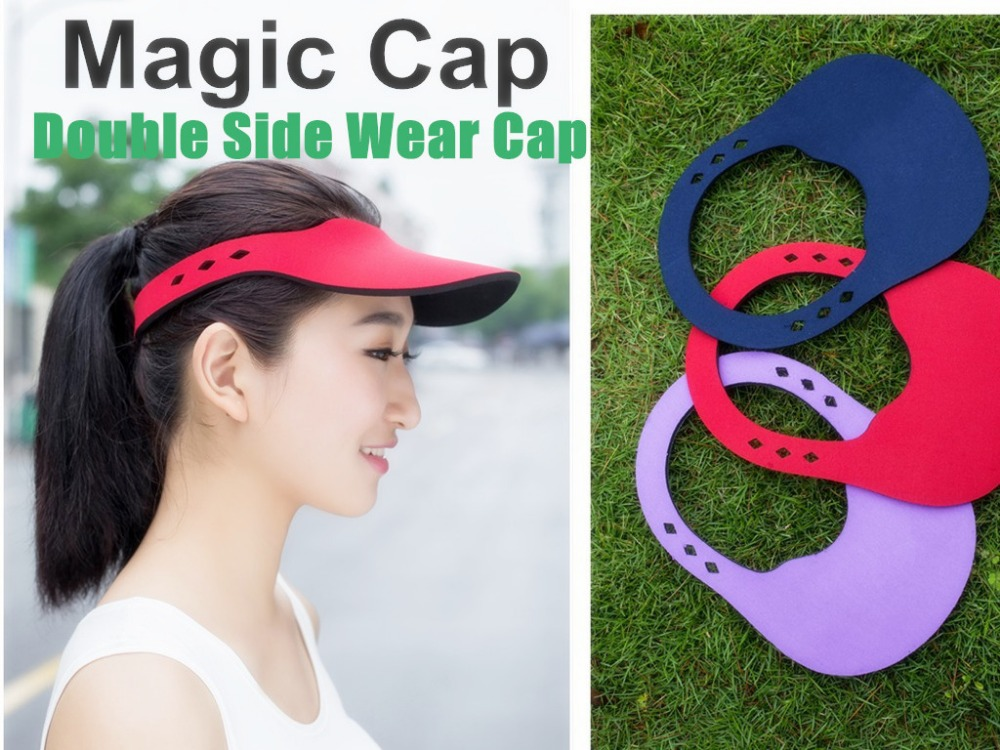 Sun Hats Double Side Wear Hot Selling Women Men Cap Visor Hat Fashion  Summer Hat Easy Take Magic Usage Caps-in Sun Hats from Apparel Accessories  on ... 7267f8f5407