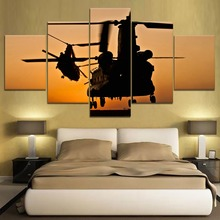 5 Panel Helicopter war Canvas Printed Painting For Living Room Wall Decor HD Picture Artworks Poster5