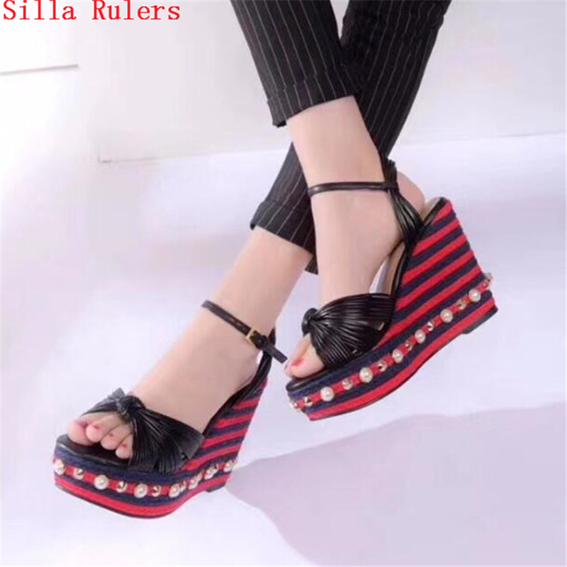 где купить New Fashion Platform Sandals High Heels Pleated Pearl Wedge Sandals Summer Women Wedding Shoes Woman Pumps Sandalias Mujer 2018 по лучшей цене