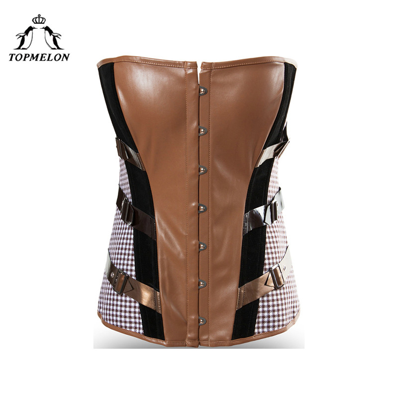 TOPMELON   Corset   Steampunk   Bustier   Gothic Corselet   Corset   Women Sexy   Corset   Fashion Brown Checkered Party Shows   Corset   Tops