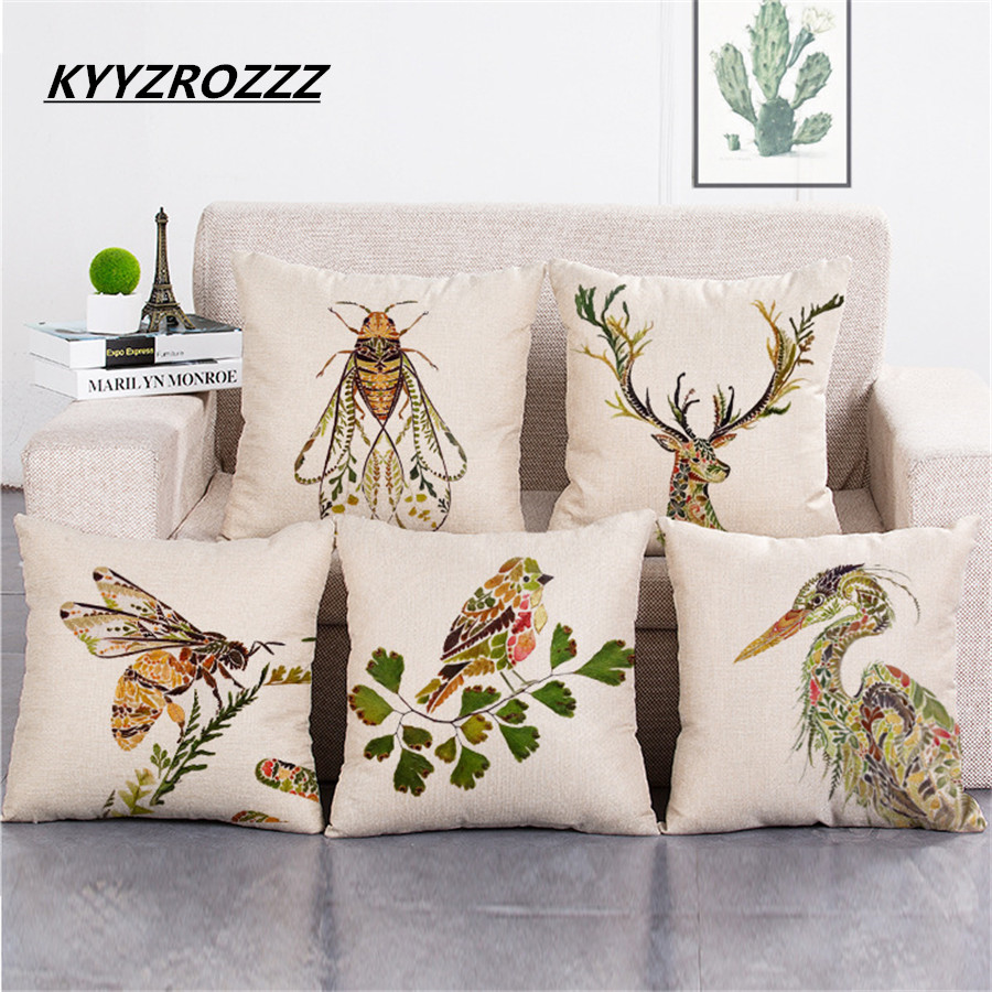 Deer Seahorse Bee Cushion Cover Decorative Throw Pillows Colorul Insect Watercolor Pattern Cotton Linen Cushion Bull Terrier