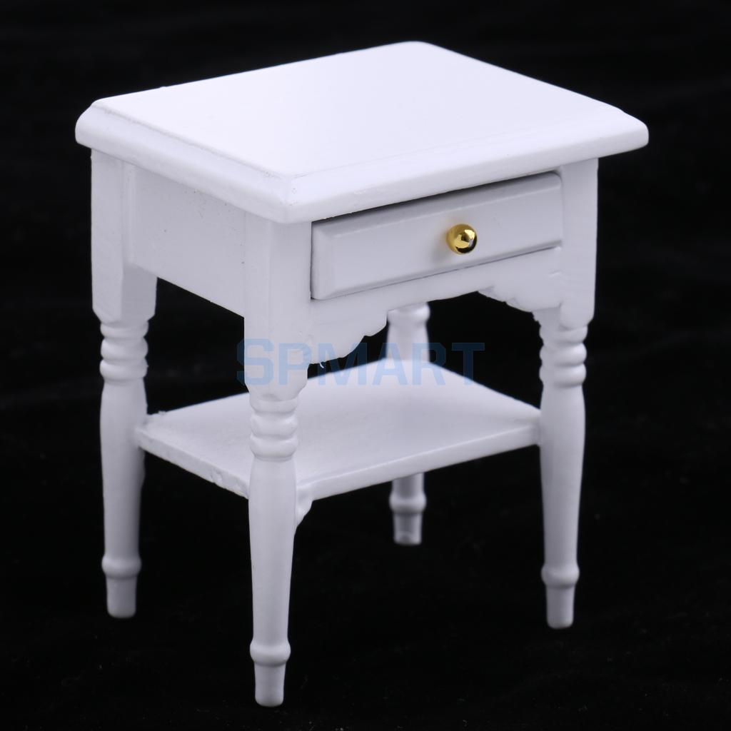 1//12 Dollhouse Miniature Furniture Bedroom Bedside Table Nightstand Cabinet