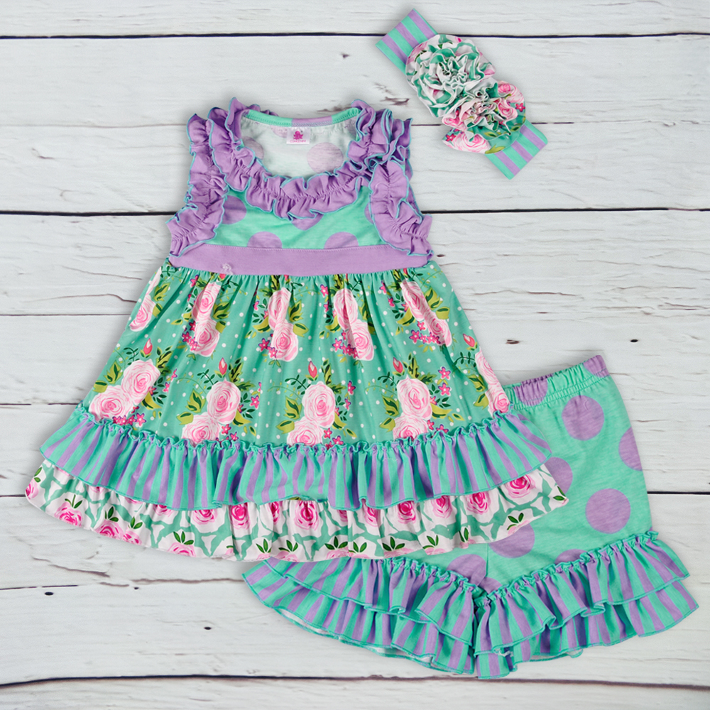 Popular Floral Girls Lovely Summer Clothing Sets Print Top With Button Striped Shorts Ruffle Kids Matching Headband girls slogan print tee with striped pants
