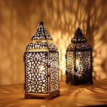 European Candlestick Hanging Lantern Black/White/Gold Vintage Elegant Metal Hollow Candle Holder Articles Moroccan 50XX135