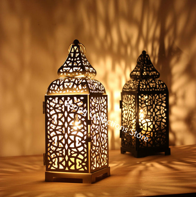 European Candlestick Hanging Lantern Black/White/Gold Vintage Elegant Metal Hollow Candle Holder Articles Moroccan 50XX135