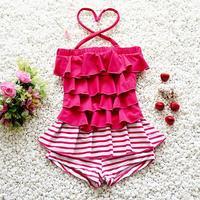 Rosa Vermelha Projeto Da Listra Crianças Swimsuit Qualidade Meninas Adolescentes Swimwear One-pieces Banho Terno Infantil Crianças Beachwear 3-11years