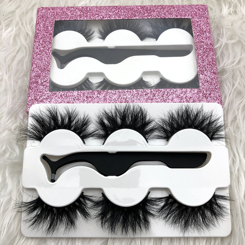 Mikiwi 3Pairs With Free Tweezers 3d Mink Eyelashes Thick Full Strip 3D Mink Lashes Luxury Makeup Dramatic Lashes