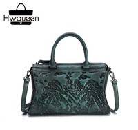 Embossing Designer Genuine Leather Hand Painted Woman Top handle Handbag Blackish Green Lady Purse Female Single Shoulder Bag