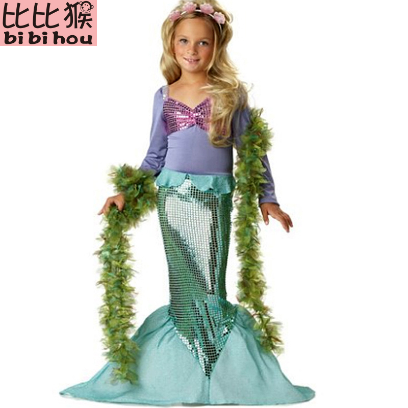 New Girls Mermaid Dresses with Pearl Children Halloween Little Mermaid Ariel Cosplay Costumes for Kids Carnival Party Dress 3-10 2017 mermaid ariel baby girls clothes the little kids girls dresses princess cosplay halloween costume