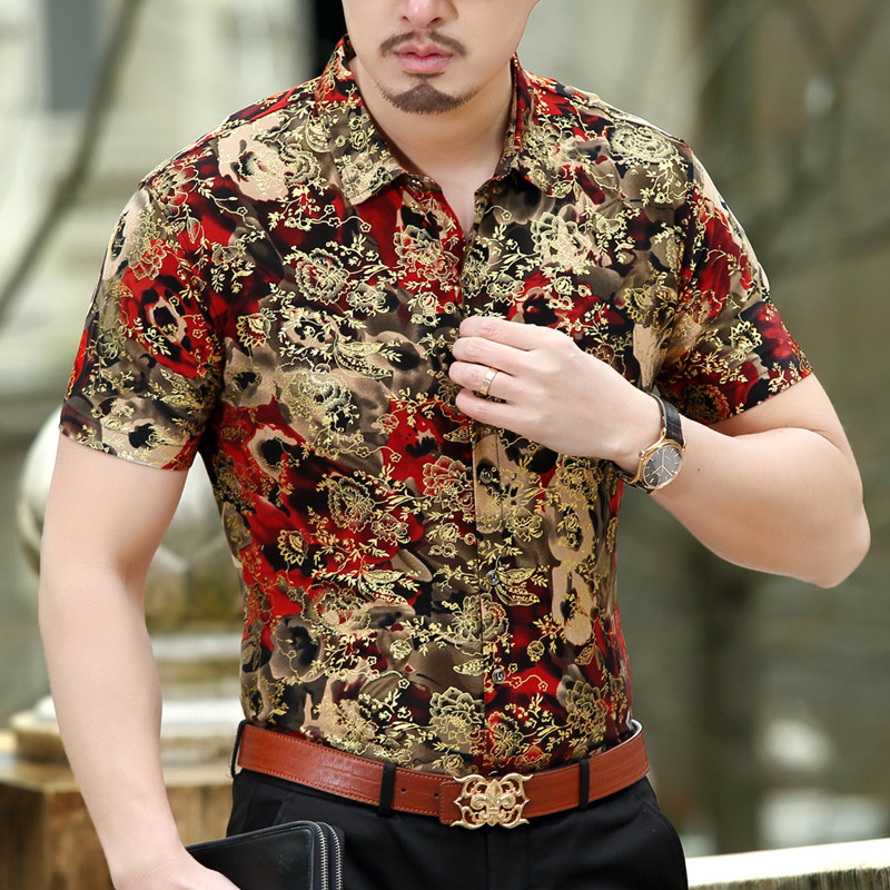 2017 fancy shirts mens chemise homme marque luxe gold baroque shirts mens chemise homme red. Black Bedroom Furniture Sets. Home Design Ideas