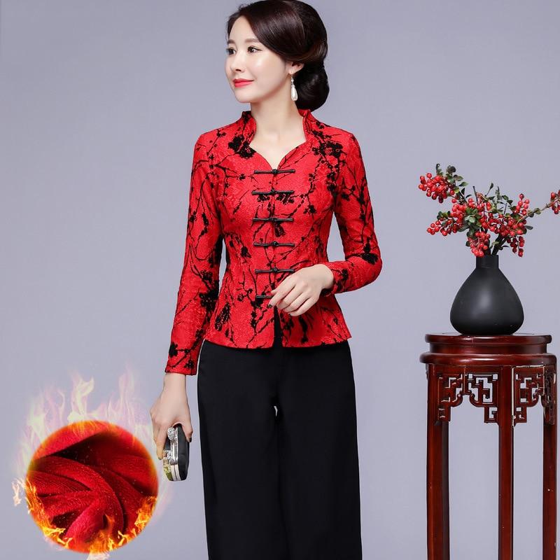 Hiver chaud Plus velours à manches longues dame Tang vêtements élégant Slim Blouase vêtements classique chemise traditionnelle grande taille 3XL-5XL