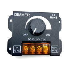 DC12V-24V LED Dimmer 30A 360W 5050 3528 Adjustable Brightness Lamp Strip Light Driver Single Color Controller connector