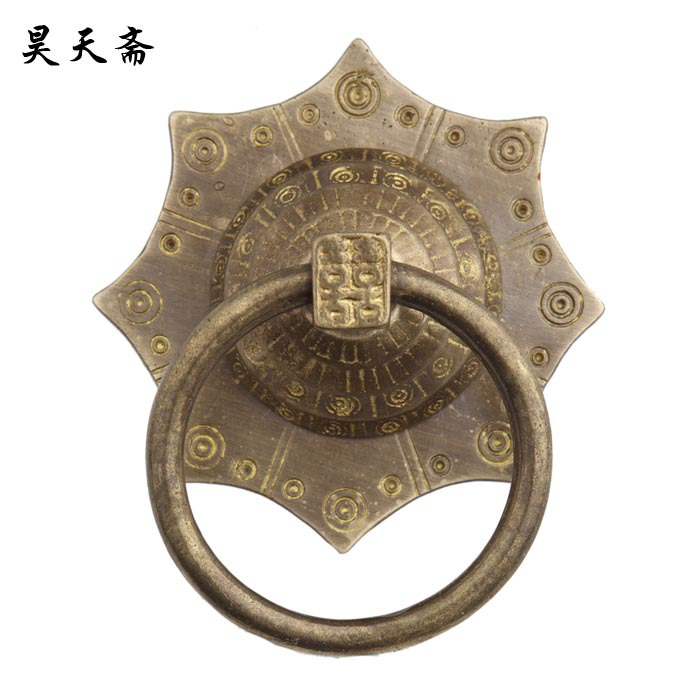 [Haotian vegetarian] copper beast handle copper handicrafts / Ming and Qing antique furniture, copper fittings HTA-031 cartoon wood