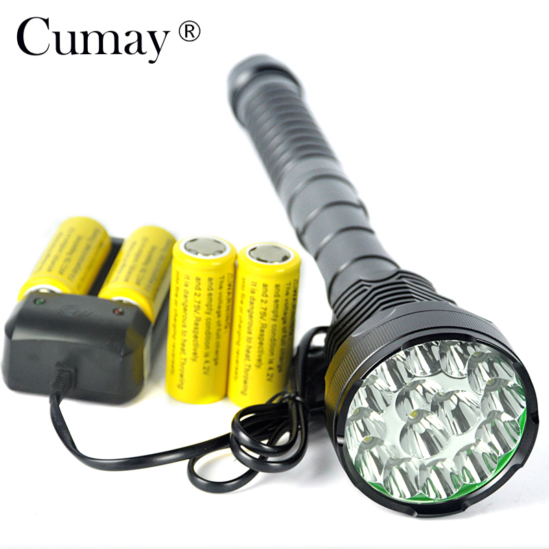 15xT6 LED Flashlight 18000 Lumens High power Linterna LED Torch Light Hunting Lanterna + 4x 26650 Battery Charger15xT6 LED Flashlight 18000 Lumens High power Linterna LED Torch Light Hunting Lanterna + 4x 26650 Battery Charger