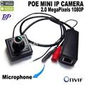 POE mini Câmera IP 1080 p 3.6mm Indoor Áudio do microfone da câmera HD Suporte para Câmera de Rede P2P ONVIF frete grátis