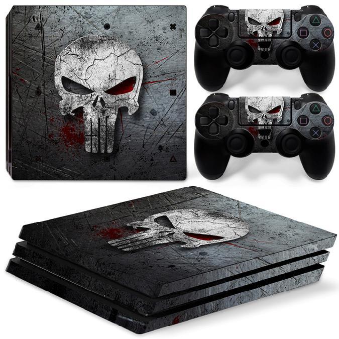 Crâne Conception PS4 Pro Vinyle Amovible Étanche Autocollant Peau Autocollant pour Sony Playstation 4 Pro Console et Contrôleur Protecteur Couverture