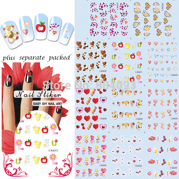 11 Sheets Lot Nails Ble2524 2534 Valentine Love Letter Styles Nail Art Water Sticker Decals For Beauty Designs In 1