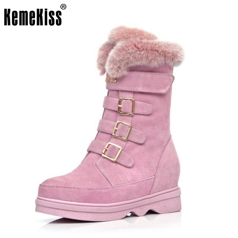 Snow Boots Women Half Knee Boot Real Genuine Leather New Fashion Keep Warm Fur Round Toe Shoes Woman Flats Shoes Size 34-39