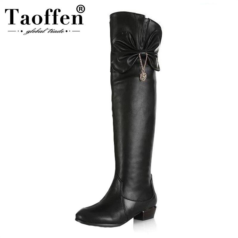 Genuino Calzado R7761 Rodilla Largo Sobre La Caliente Taoffen Bota Negro Tacones Real Mujer 45 Invierno Botas Cuero Zapatos Planos De 30 Tamaño nwqR470Tw