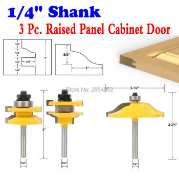 цена на Raised Panel Cabinet Door Router Bit Set - 3 Bit Ogee - 1/4 Shank  Woodworking cutter Tenon Cutter for Woodworking Tool