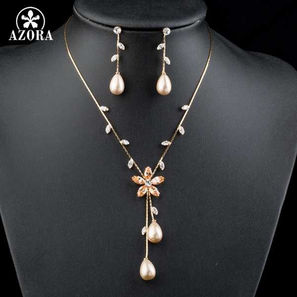 AZORA Gold Color Imitation Pearl Top quality Cubic Zirconia Earrings and Necklace Jewelry Set TG0138