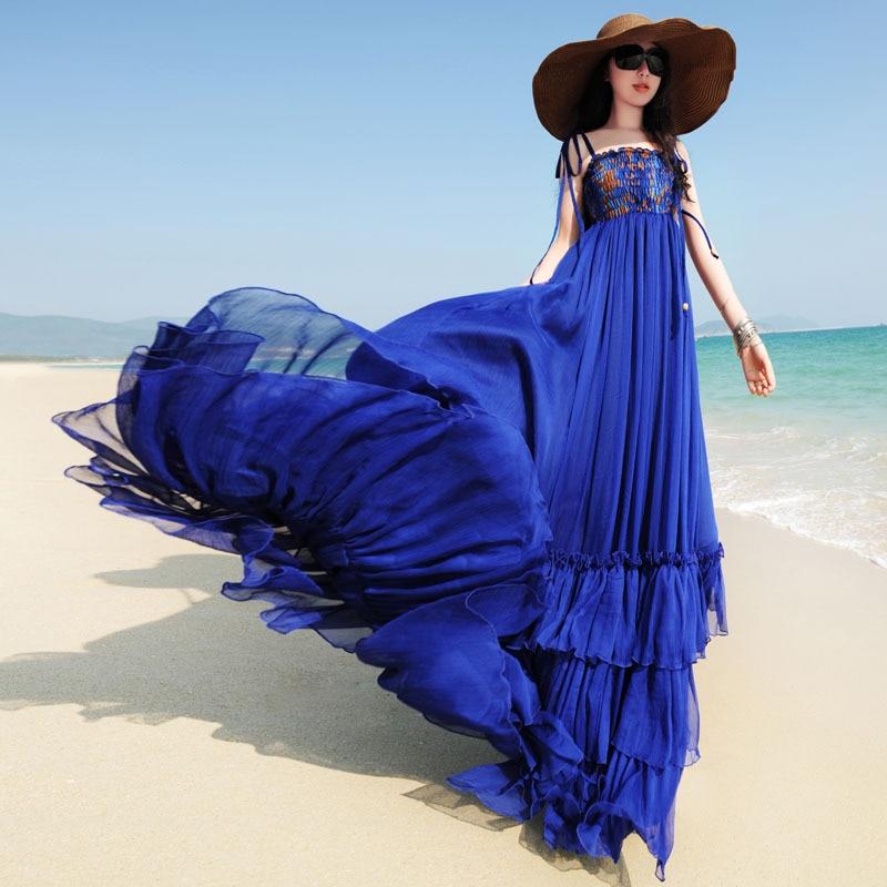 2017 New Summer Women's Sweet Bohemian Beach Dress Female Large Swing Chiffon Long Maxi Dress Blue/beige Vestido De Festa
