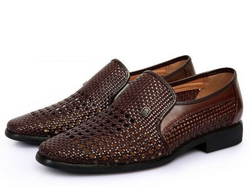 New Mens Dress Formal Summer Sandal Woven Leather Cose Toe Casual Shoes 3 Colors