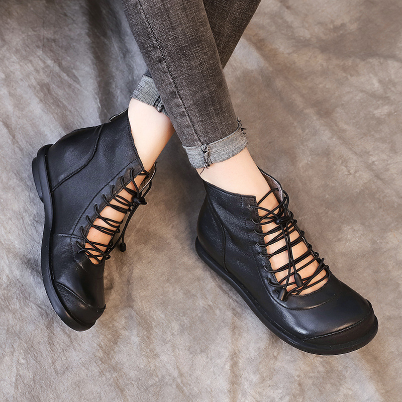 Women Gladiator Boots Genuine Leather Spring Shoes Women Increased Height Heel Leather Ankle Boots Women Handmade