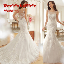 custom made backless mermaid wedding dress 2017 appliques lace beaded marry bridal gowns for wedding party vestido noiva