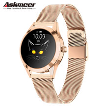Askmeer KW10 Fashion Smart Watch Waterproof Women Bracelet Sleep Heart Rate Monitor Lady Smartwatch For IOS Android PK S3 Band