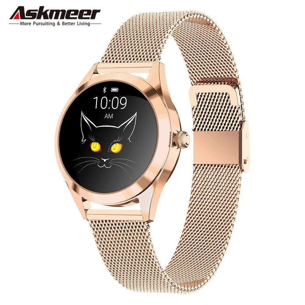 Askmeer KW10 mode montre intelligente étanche femmes Bracelet sommeil moniteur de fréquence cardiaque dame Smartwatch pour IOS Android PK S3 bande