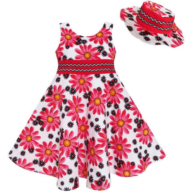 Sunny Fashion 2 Pecs Girls Dress Hat Flower Summer Party Holiday Princess Child Cotton 2017 Summer Wedding Dresses Size 4-12