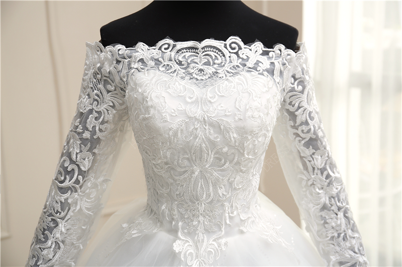 Luxury Lace 100cm Train Wedding Dresses Long Embroidery Ball Gowns White Ivory Boat Neck off shoulder Full Sleeve Tulle Bridal