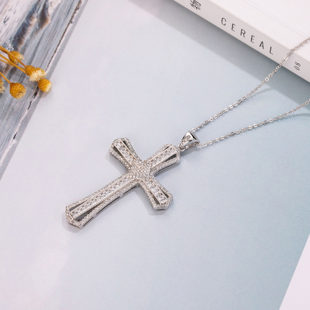 New 925 Silver Exquisite Bible Jesus Cross Pendant Necklace for women men Crucifix Charm Simulated Platinum Diamond Jewelry N021
