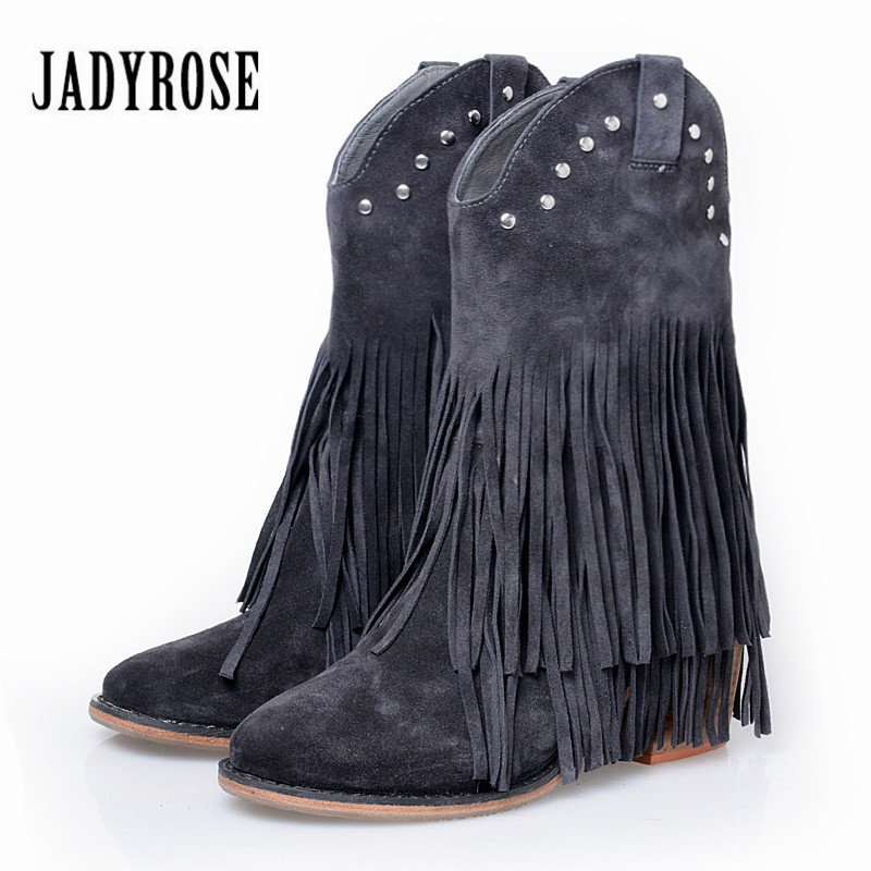 Jady Rose Full Fringed Women Mid-calf Boots Suede Tassels Chunky High Heel Boot Slip On Rivets Studded Rubber Martin Boots double buckle cross straps mid calf boots