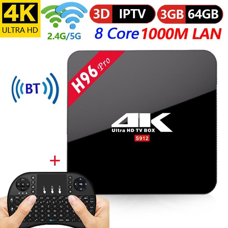 Original H96 Pro Smart TV Box 3 GB/S912 64 GB Amlogic Octa Núcleo Android 7.1 TVBOX 2.4G /5GHz Wi-fi BT4.1 4 K Set Top Box vs X92