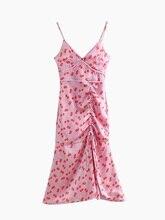NiceMix 2019 SummerVintage Red Cherry Print Spaghetti Strap Dress V-Neck Drawstring Lacing Up Ruffles Hem Dress 3 Colors belted cherry print pin up dress