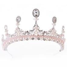 Luxury Crystal Pearl Baroque Crown Vintage Silver Princess Bridal Tiaras Pageant Bride Wedding Hair Accessories 2019