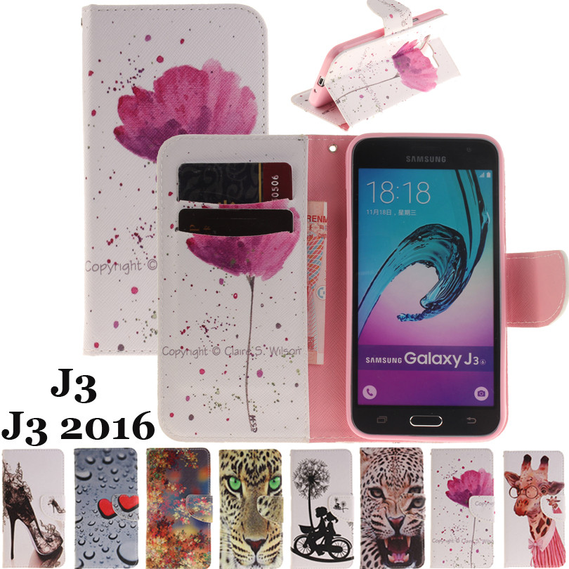 Galleria fotografica Luxury Leather Mobile Case sFor Samsung Galaxy J3 2015/ J3 2016 J320 J320F Flip Wallet Cover Card Holder Cases for Galaxy J3 6