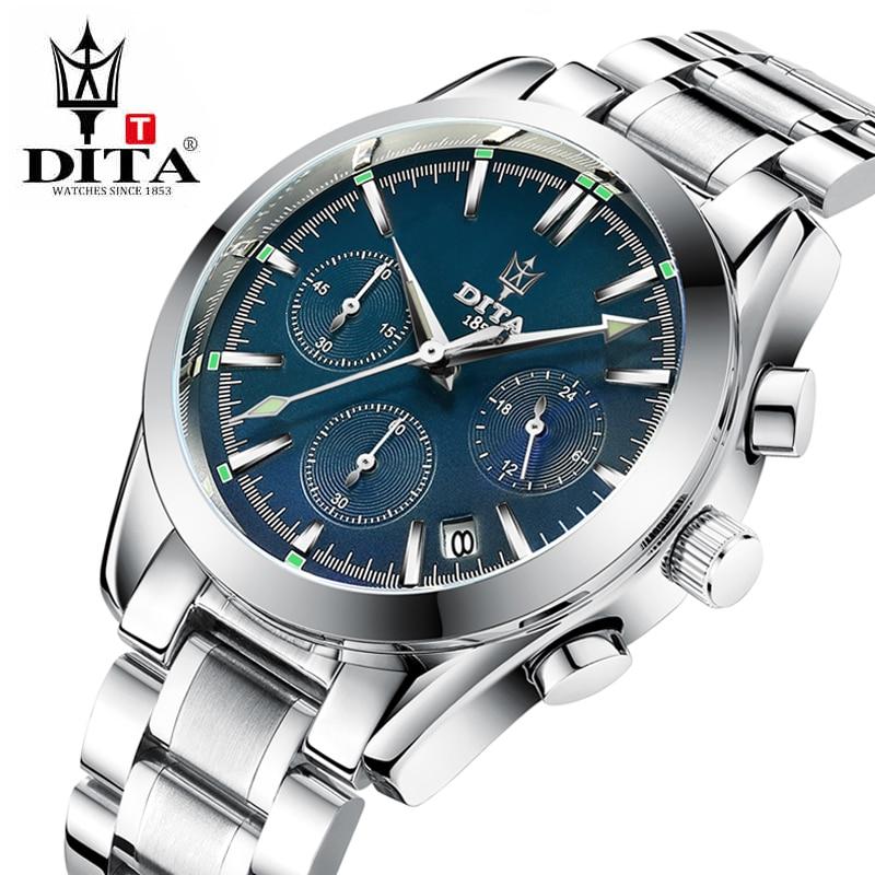 где купить DITA  Military Sport Watches For Men Stainless Steel Watchband Watch Men Chronograph Quartz Wristwatch Waterproof Quartz relogi по лучшей цене