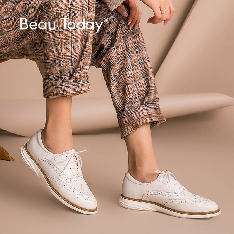 BeauToday Women Oxfords Calfskin Genuine Leather Brogue Style Round Toe Lace-Up Lady Flat Shoes Handmade 21332BeauToday Women Oxfords Calfskin Genuine Leather Brogue Style Round Toe Lace-Up Lady Flat Shoes Handmade 21332