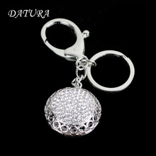 2 colors  Fashion rhinestone hollow circular   pendant quality chic Car key chain ring holder Jewelry  for women.
