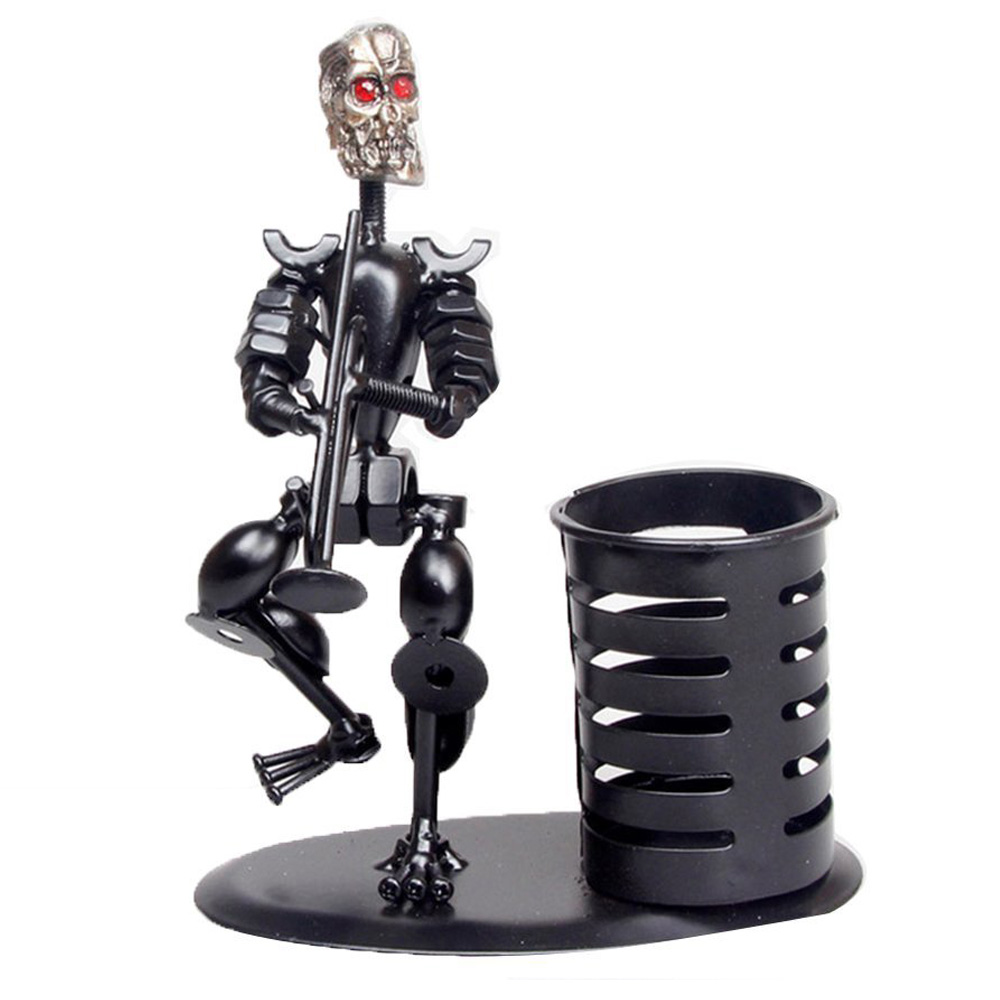 Creative Fashion Black Iron Skull Musician Pen Container Holder Home Office Desk Decoration Gift Perfect Father's Day Gift(Tro gift n home