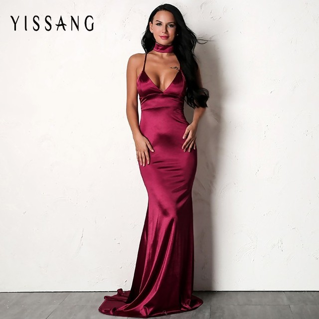 Yissang Elegant Maxi Long Dress Women Bodycon Cross Lace Up Dress Backless  Sexy Evening Prom Club Party Vestidos Dresses f9087dbe8db8
