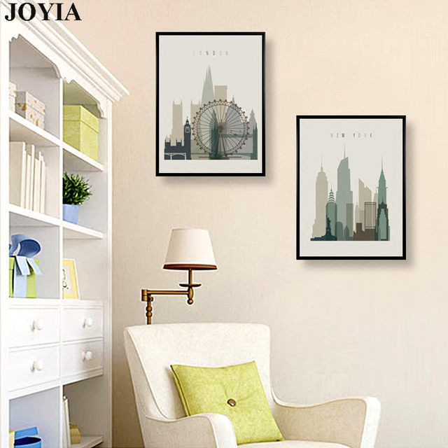Online Shop Home Decor Wall Art Abstract City Silhouette Retro ...